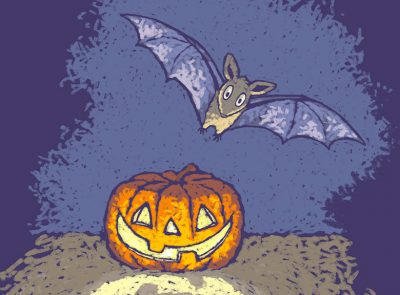 Bat flying around a pumpkin cartoon
